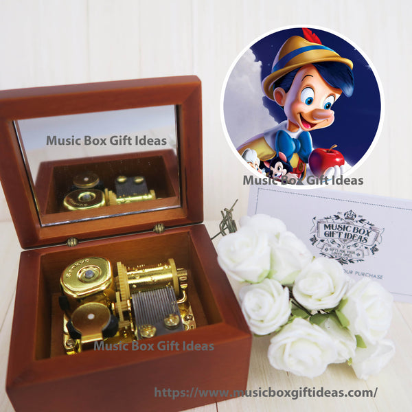 Disney Pinocchio Soundtrack When You Wish Upon A Star 18-Note Music Box Gift (Wooden Clockwork) - Music Box Gift Ideas