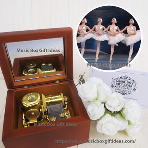 Swan Lake Ballet Tchaikovsky 18-Note Music Box Gift (Wooden Clockwork) - Music Box Gift Ideas