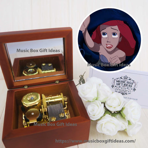 Disney The Little Mermaid Part of Your World 18-Note Music Box Gift (Wooden Clockwork) - Music Box Gift Ideas