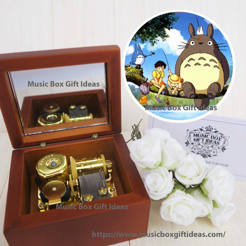 My Neighbor Totoro Soundtrack Tonari no Totoro from Studio Ghibli 18-Note Music Box Gift (Wooden Clockwork) - Music Box Gift Ideas