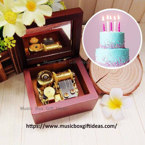 Happy Birthday Sankyo 18-Note Music Box Gift (Wooden Clockwork) - Music Box Gift Ideas