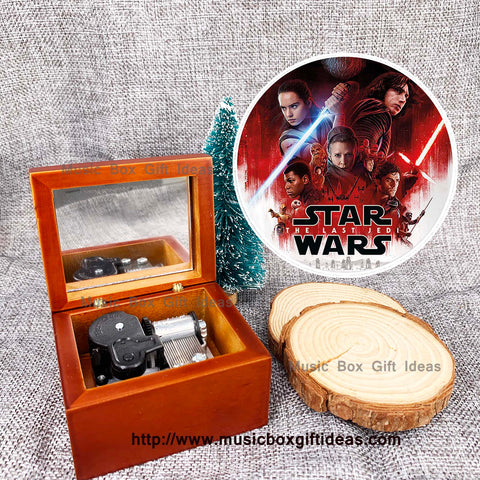 Star War Theme Song Wooden 18-Note Windup Music Box - Music Box Gift Ideas