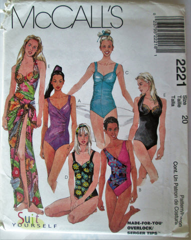 McCalls 2221 Women's 90s One-Piece Bathing Suit & Pareo Sewing Pattern Bust 42 - Great Sewing Patterns - 1