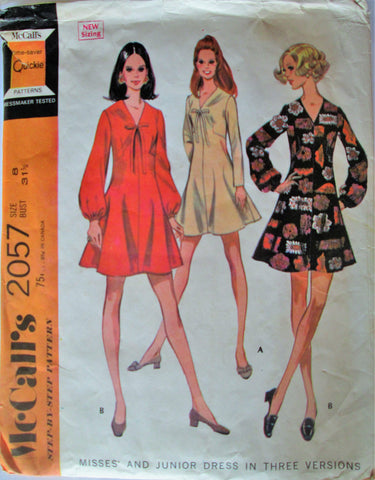 McCalls 2057 Women's 60s Dart Fitted Flared Mini-Dress Sewing Pattern Bust 31.5 - Great Sewing Patterns - 1