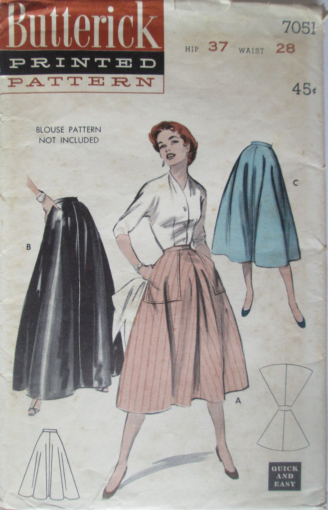 Butterick 7051 Women's 50s Quick & Easy Day or Evening Length Skirt Sewing Pattern Hip 37 Waist 28 - Great Sewing Patterns - 1