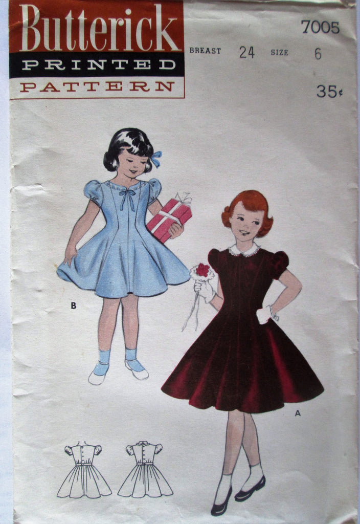 Butterick 7005 Girls (Child's) 50s Party Dress Princess Whirl Dress Breast 24 Sewing Pattern - Great Sewing Patterns - 1