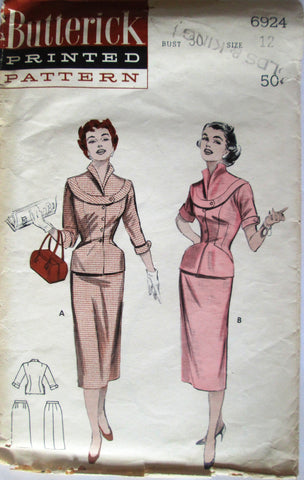Butterick 6924 Womens 50s Two Piece Dress: Decorative Band, Skirt Sewing Pattern Size 12 Bust 30 - Great Sewing Patterns - 1