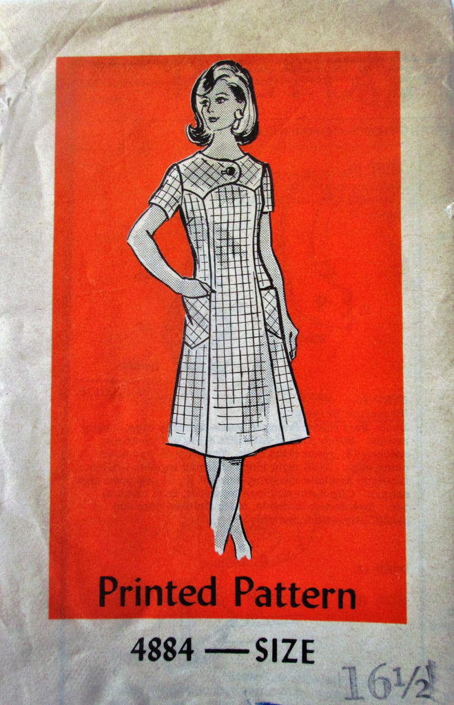 Mail Order 4884 Women's A-Line 70s Dress with Neckline Button Yoke Sewing Pattern Bust 39 - Great Sewing Patterns - 1