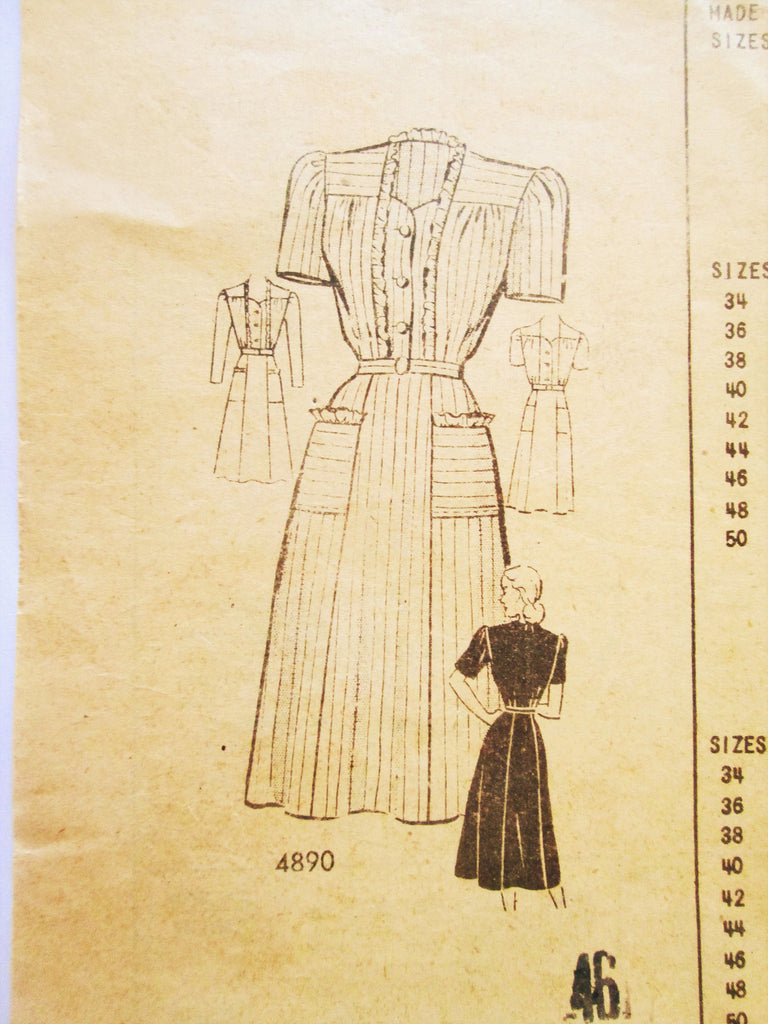 Anne Adams 4890 Women's Dress Pattern from 1940s Bust 46 - Great Sewing Patterns - 1