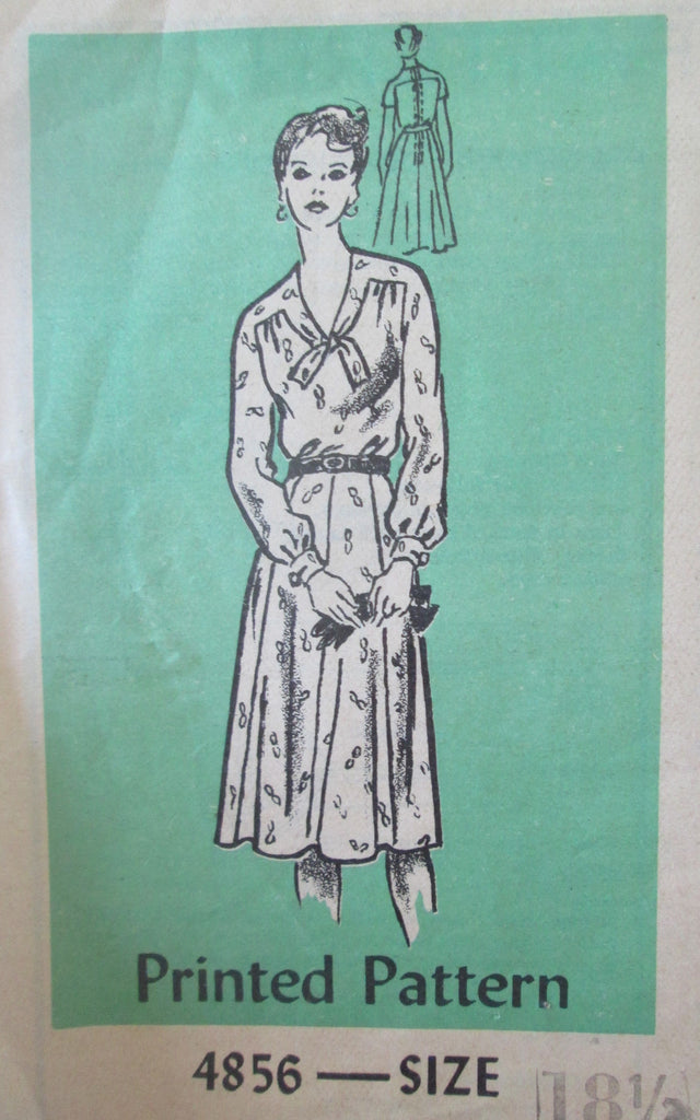 Mail Order 4856 Women's 80s Tie Dress Sewing Pattern Size 18.5 Bust 41 - Great Sewing Patterns - 1