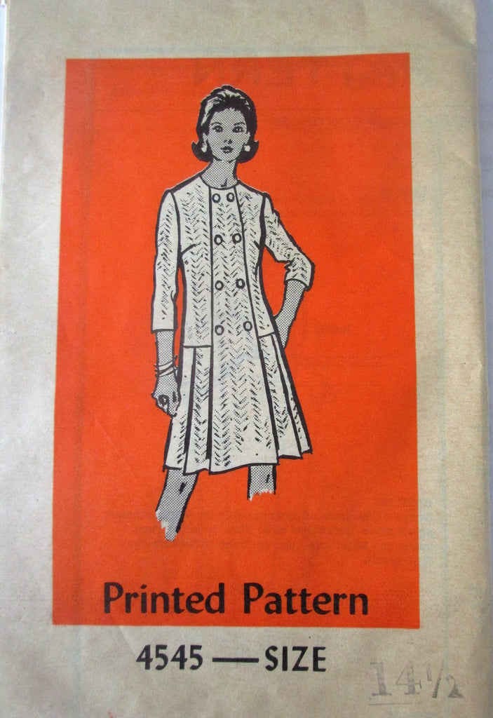 Mail Order 4545 Women's 60s Front Button Panel Dress Sewing Pattern Bust 37 - Great Sewing Patterns - 1