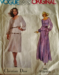 Vogue Paris Original 1836 Christian Dior Womens 70s Blouse & Skirt Sewing Pattern Size 12 Bust 34 - Great Sewing Patterns - 1