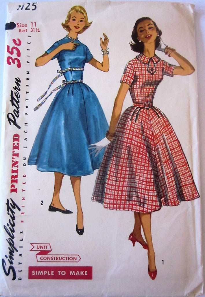 Simplicity 1725 Junior Misses 50s Flared Dress Sewing Pattern Bust 31 1/2 - Great Sewing Patterns - 1