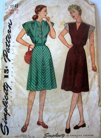 Simplicity 1541 Women's 40s One-Piece Yoked 4 Gore Dress Unprinted Sewing Pattern Bust 36 - Great Sewing Patterns - 1