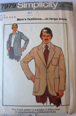 Simplicity 7979 Men's Unlined Blazer Sewing Pattern Chest 44 - Great Sewing Patterns - 1