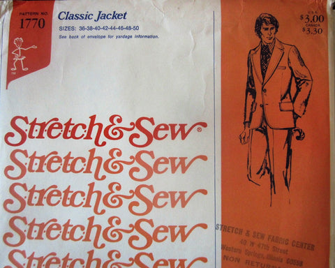 Stretch & Sew 1770 Men's Classic Jacket Sewing Pattern Chest 36 to 50 - Great Sewing Patterns - 1