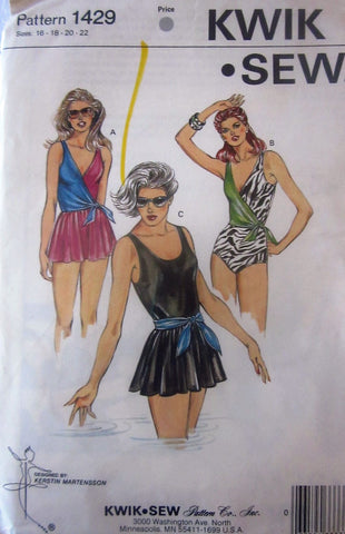 Kwik Sew 1429 Women's 80s Swimsuit in 3 styles Sewing Pattern Size 16 to 22 Bust 40 to 45 - Great Sewing Patterns - 1