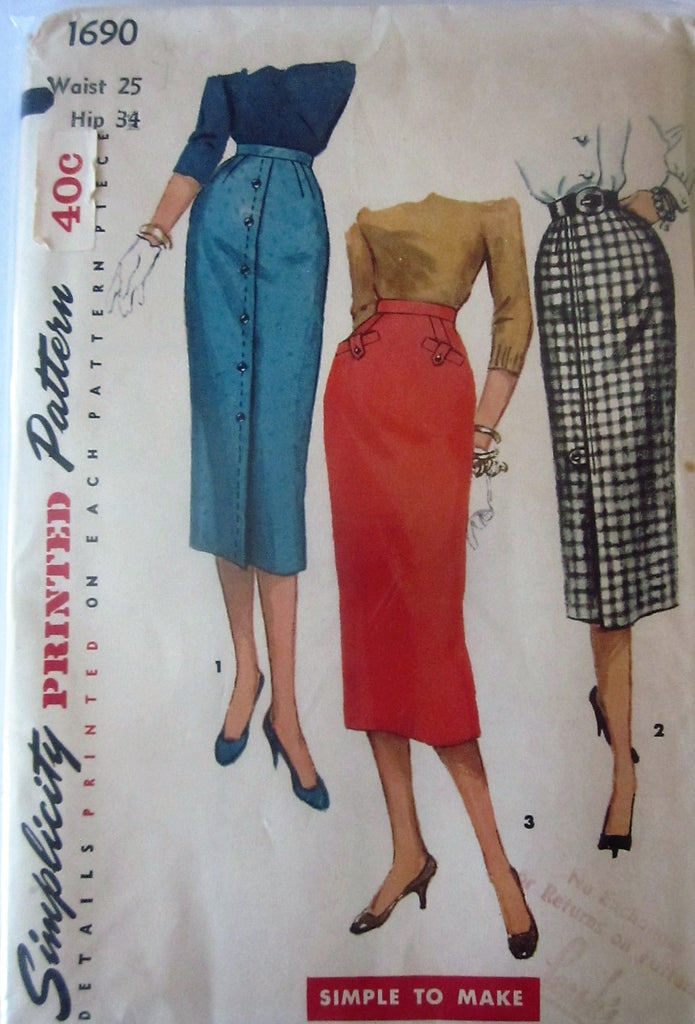 Simplicity 1690 Women's 50s Pencil One Yard Skirt Sewing Pattern Waist 25, Hip 34 - Great Sewing Patterns - 1