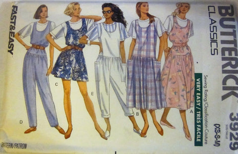 Butterick 3929 Women's 80s Petite Jumper, Jumpsuit & Top Sewing Pattern Bust 30-36 - Great Sewing Patterns - 1