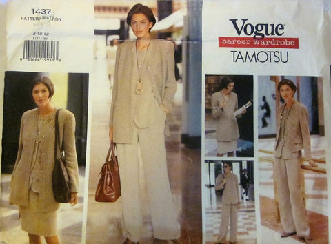 Vogue 1437 Tamotsu Women's 90s Jacket, Vest, Top, Skirt & Pants Sewing Pattern Bust 31 to 34 - Great Sewing Patterns - 1