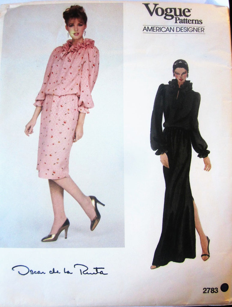 Vogue 2783 Oscar De La Renta Women's 80s Top and Skirt Sewing Pattern Bust 36 - Great Sewing Patterns - 1
