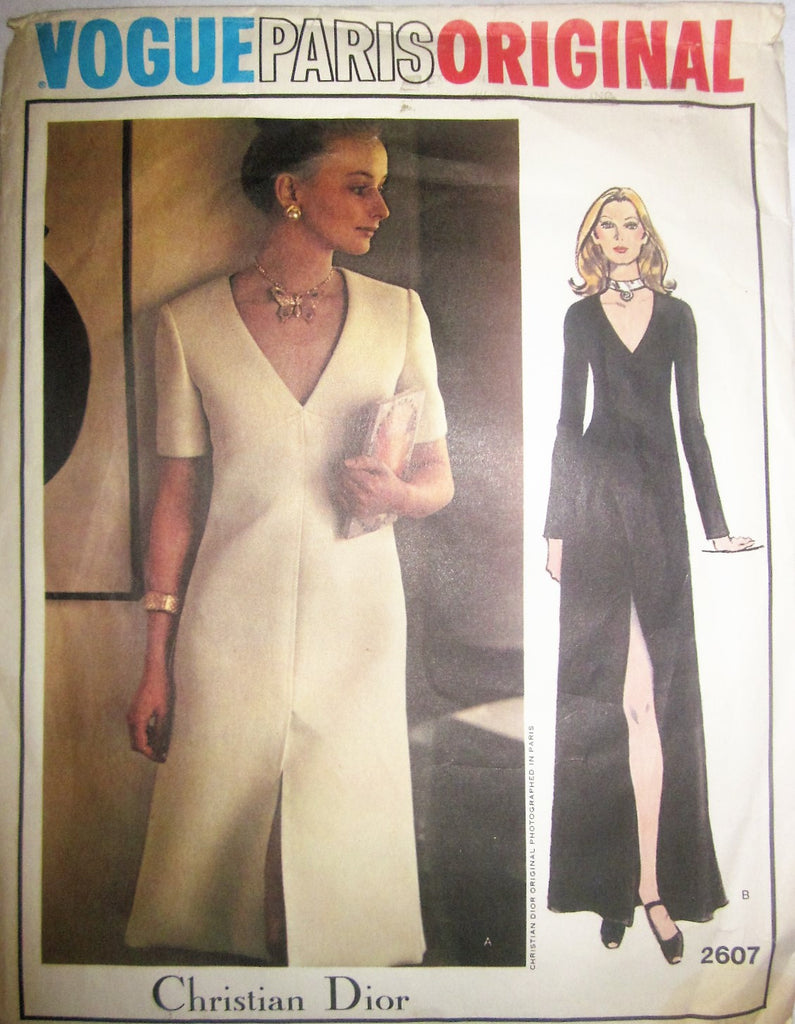 Vogue Paris Original 2607 Christian Dior A-Line  70s Evening or Knee Length Dress Sewing Pattern Bust 31 1/2 - Great Sewing Patterns - 1