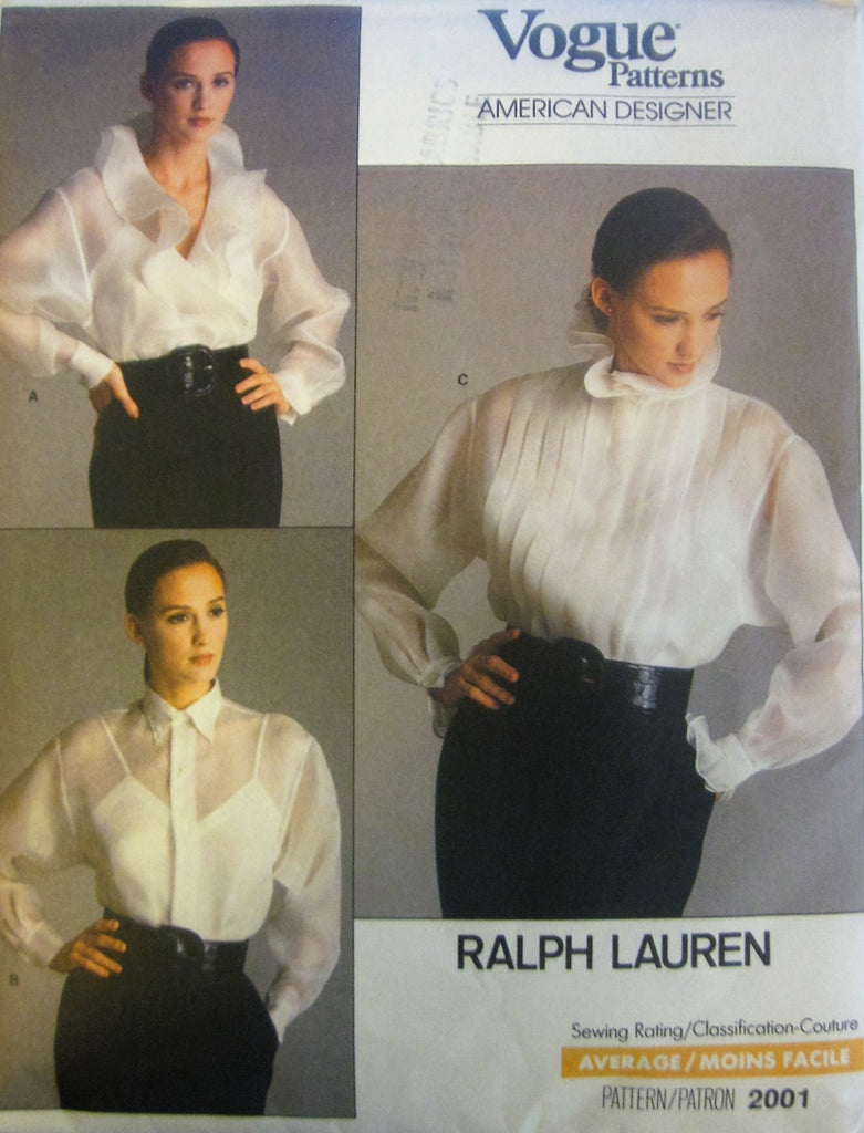 Vogue American Designer 2001 Ralph Lauren Women's 80s Blouse & Camisole Sewing Pattern Bust 32 1/2 - Great Sewing Patterns - 1