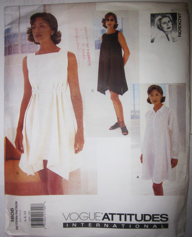 Vogue Attitudes 1606 Betty Jackson Designer Women's 90s Flared Dress Size 6, 8, 10 Bust 30 to 32 - Great Sewing Patterns - 1