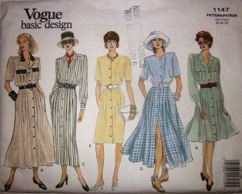 Vogue Basic Design 1147 Women's 90s Straight or Flared Dress Sewing Pattern Size 8 10 12 Bust 31 to 34 - Great Sewing Patterns - 1