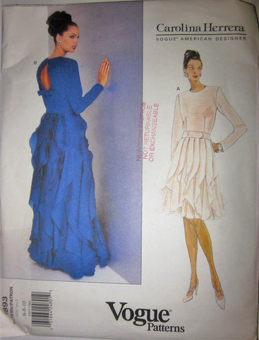 Vogue American Designer Carolina Herrera 1893 Women's 90s Evening Dress Sewing Pattern  Size 6 to 10 Bust 30 to 32 - Great Sewing Patterns - 1