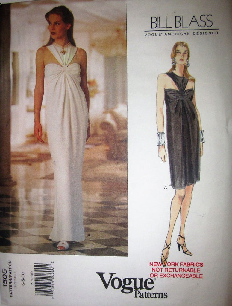 Vogue American Designer 1505 Bill Blass Women's 90s Boned Evening or Knee Length Cocktail Dress Sewing Pattern Bust 30 1/2 to 32 1/2 - Great Sewing Patterns - 1
