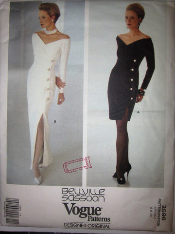Vogue Designer Original 2596 Bellville Sassoon  Womens 90s Cocktail Dress Sewing Pattern Size 6 - 10 Bust 30 to 32 - Great Sewing Patterns - 1