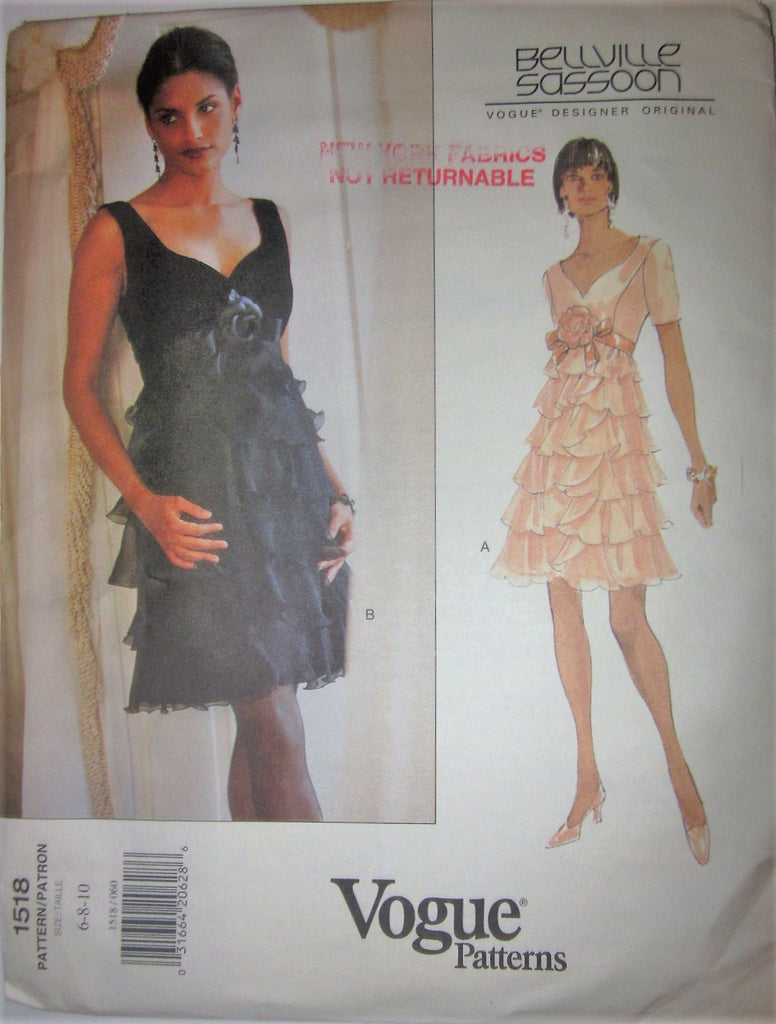 Vogue Designer Original 1518 Bellville Sasson Womens 90s Tiered Dress Sewing Pattern Bust 30 - 32 - Great Sewing Patterns - 1