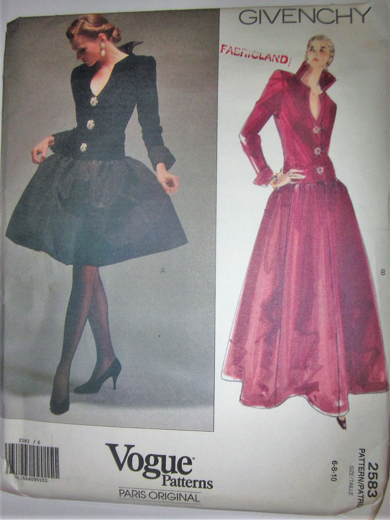 Vogue Paris Original 2583 Givenchy 90s Evening Dress Sewing Pattern Size 6 to 10 Bust 30 to 32 - Great Sewing Patterns - 1