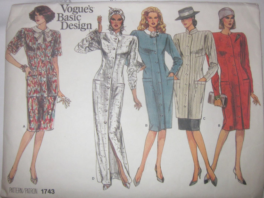Vogue's Basic Design 1743 Women's 80s Dress, Tunic, Top & Skirt Sewing Pattern Size 10 Bust 32 1/2 - Great Sewing Patterns - 1