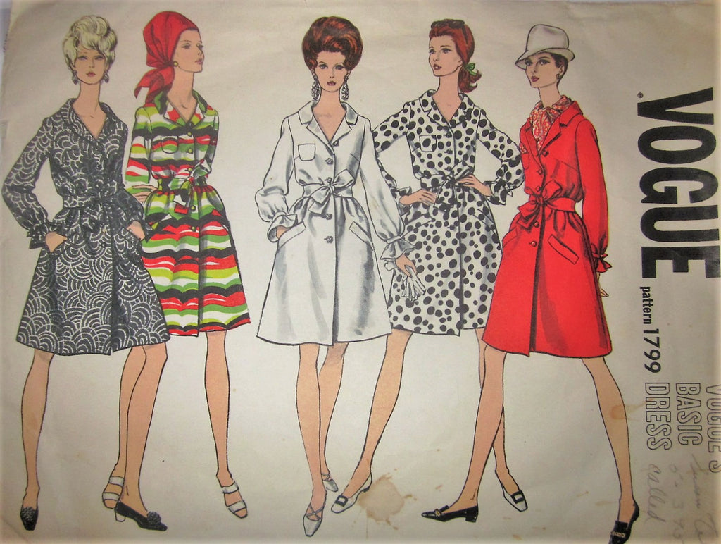 Vogue's Basic Dress 1799 Women's 60s One-Piece Shirt Dress Sewing Pattern Size 10 Bust 31 - Great Sewing Patterns - 1