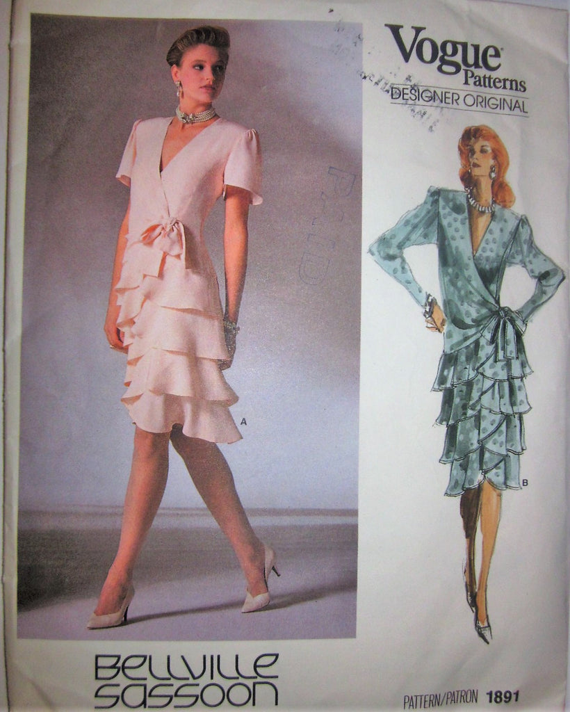 Vogue Designer Original 1891 Bellville Sassoon Women's 80s Flounce Dress Sewing Pattern Size 10 Bust 32 1/2 - Great Sewing Patterns - 1