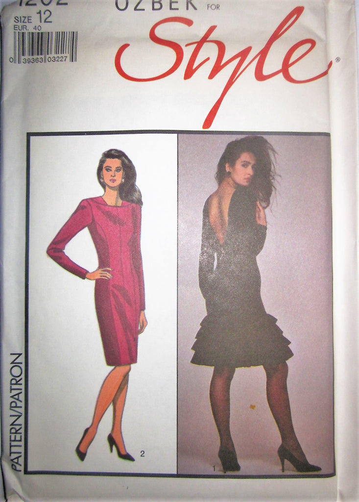 Style 1202 Rifat Ozbek Designer Womens 80s Fitted Dress & V-Back Sewing Pattern Bust 34 Size 12 - Great Sewing Patterns - 1