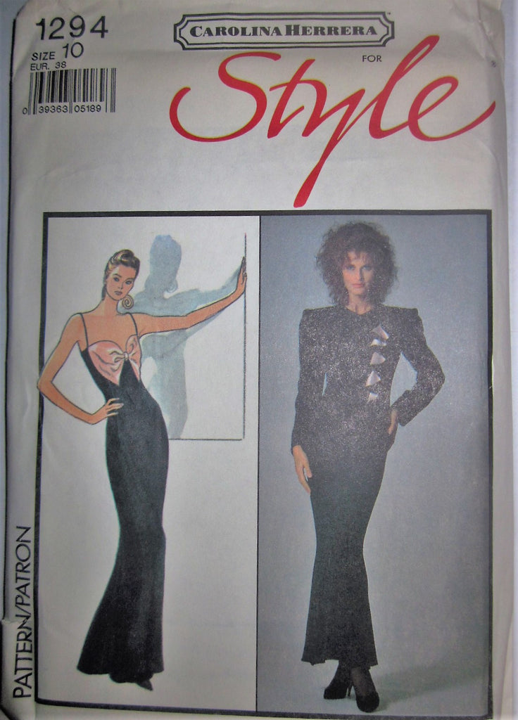 Style 1294 Carolina Herrera Women's 80s Lined Jacket and Evening Length Dress Sewing Pattern Size 10 Bust 32 1/2 - Great Sewing Patterns - 1