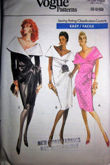 Vogue 7400 Women's 80s Mock Wrap Dress Sewing Pattern Size 6 to 10 Bust 30 to 32 - Great Sewing Patterns - 1