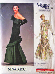 Vogue Paris Original 2213 Nina Ricci 80s Floor Length Evening Boned Dress - Great Sewing Patterns - 1