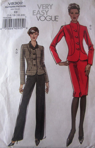 Vogue 8302 Women's 2000s Petite Jacket, Skirt and Pants Size 14-20 Bust 36 to 42 - Great Sewing Patterns - 1