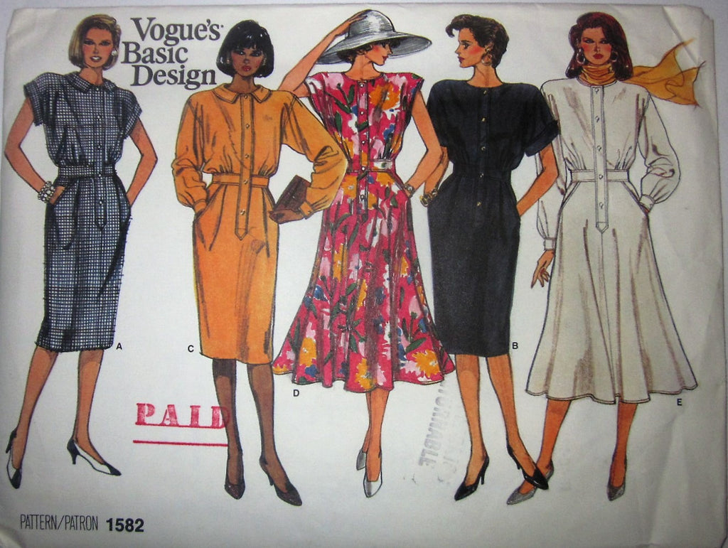 Vogue's Basic Design 1582 Women's 80s Straigt or Flared Dress Sewing Pattern Size 8 - 12 Bust 31 to 34 - Great Sewing Patterns - 1