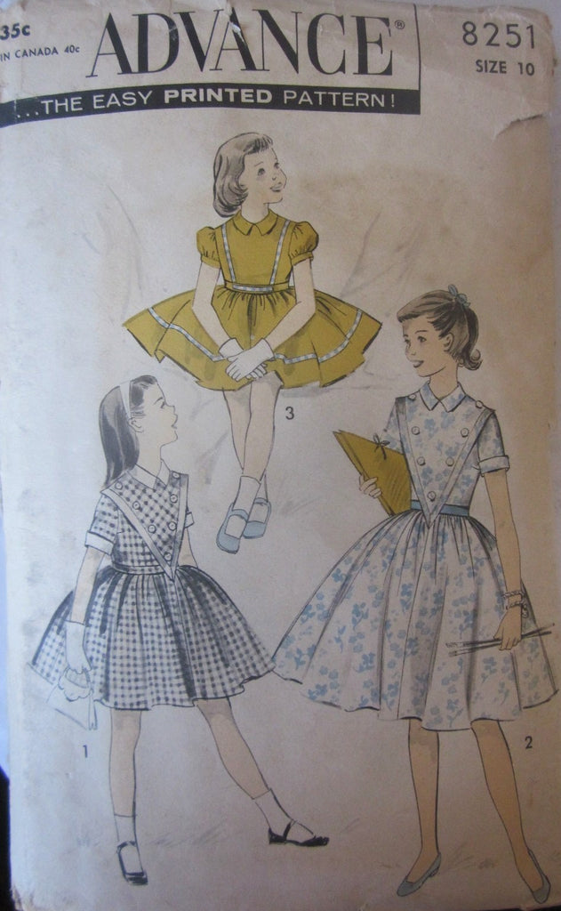 Advance 8251 Girls 50s Childs Party Dress Sewing Pattern Size 10, Breast 28 - Great Sewing Patterns - 1
