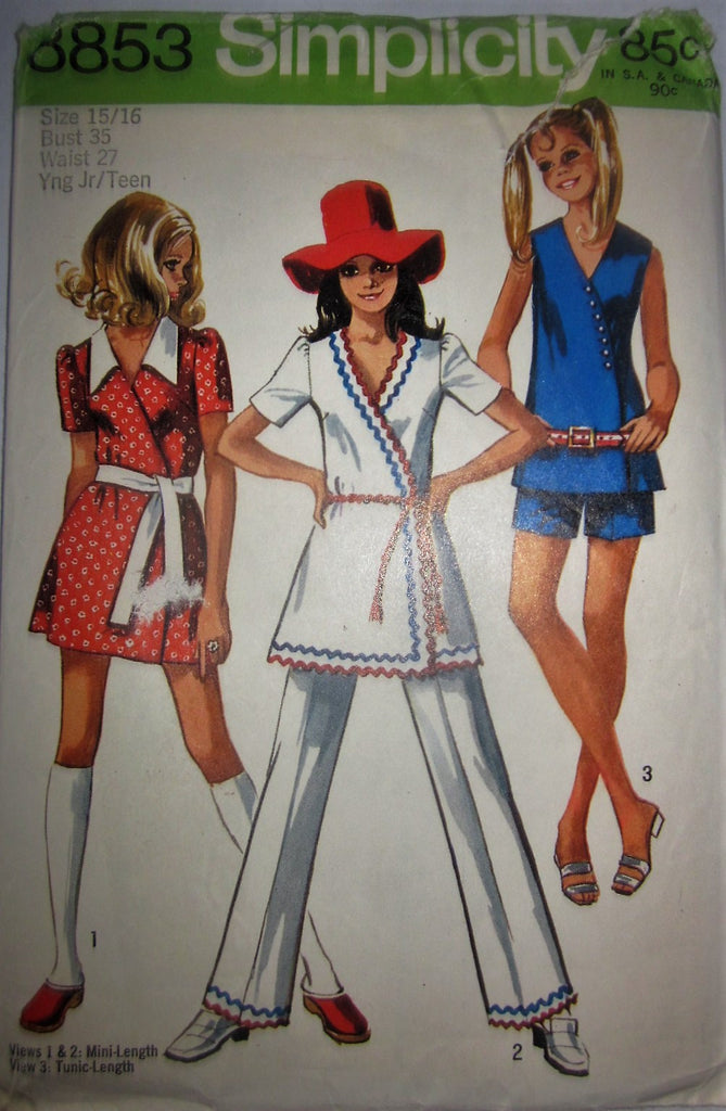 Simplicity 8853 Junior or Women's 70s Mini-Dress or Tunic & Shorts or Pants Sewing Pattern Bust 35 - Great Sewing Patterns - 1