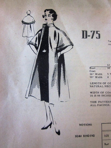 Modes Royale D-75 Unlined 50s Cape Coat Sewing Pattern Bust 30 - Great Sewing Patterns - 1
