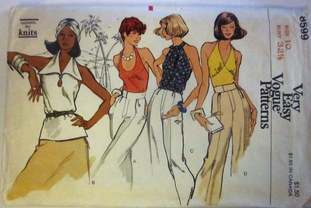 Very Easy Vogue Pattern 8599 Misses' 70s Halter Blouses Sewing Pattern Bust 32.5 - Great Sewing Patterns - 1
