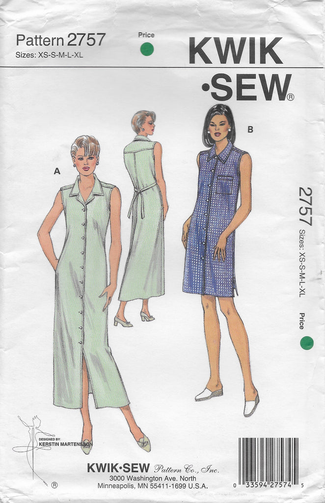 Kwik Sew 2757 Womens 90s Sleeveless Dress Sewing Pattern Size Xs To