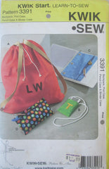 Kwik Sew 3391 Accessories Sewing Pattern Backpack, Pod Case, Pencil Case, Binder Case - Great Sewing Patterns - 1