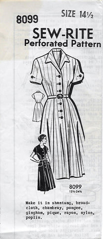 Sew-Rite Mail Order 8099 Women's 40s Button Front Shirt Waist Dress Unprinted Sewing Pattern Size 14 1/2